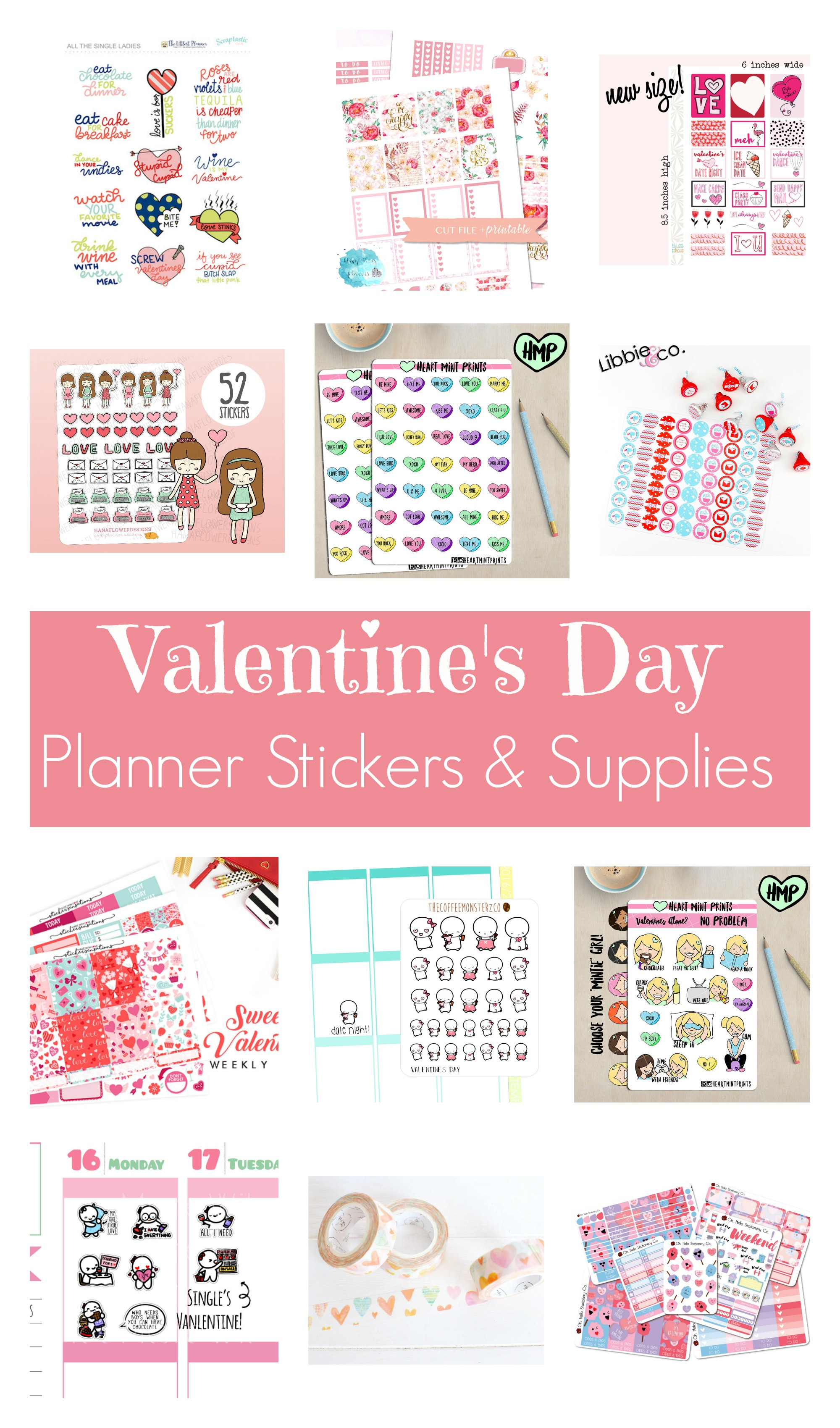 Valentine 39 s day planner stickers and supplies long story for For planner
